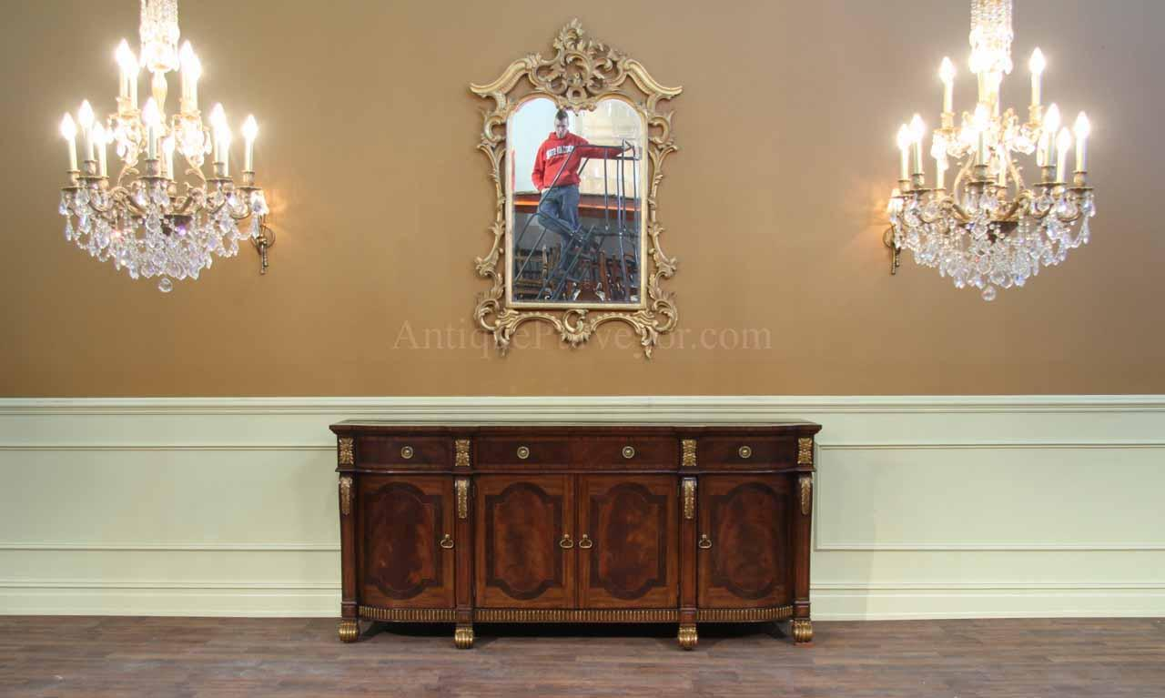 antiquing cabinets large mahogany regency style sideboard with gold accents 10696
