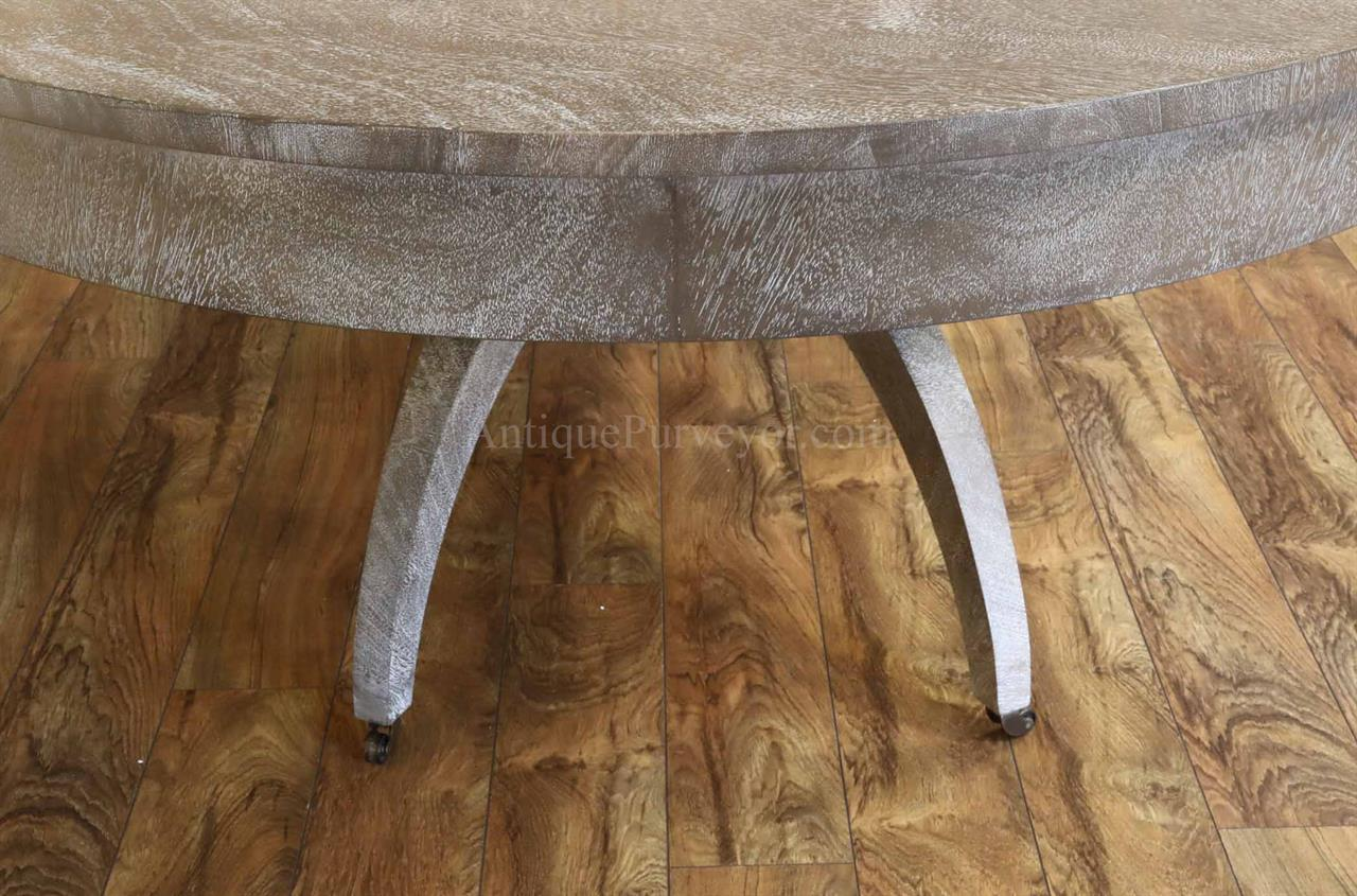 Gray Oval Dining Table With Self Storing Leaf