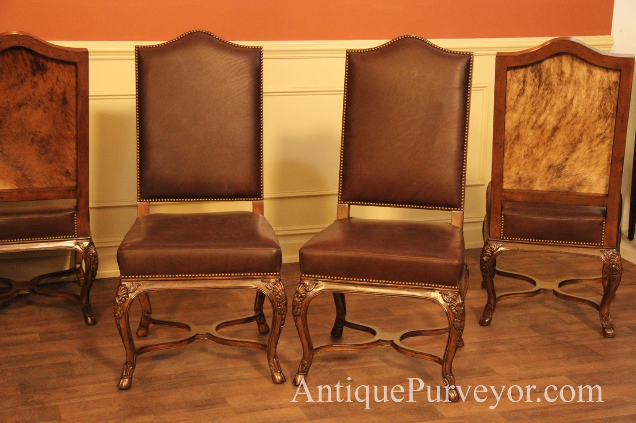 Hair Hide and Leather Upholstered Dining Room Chairs ...