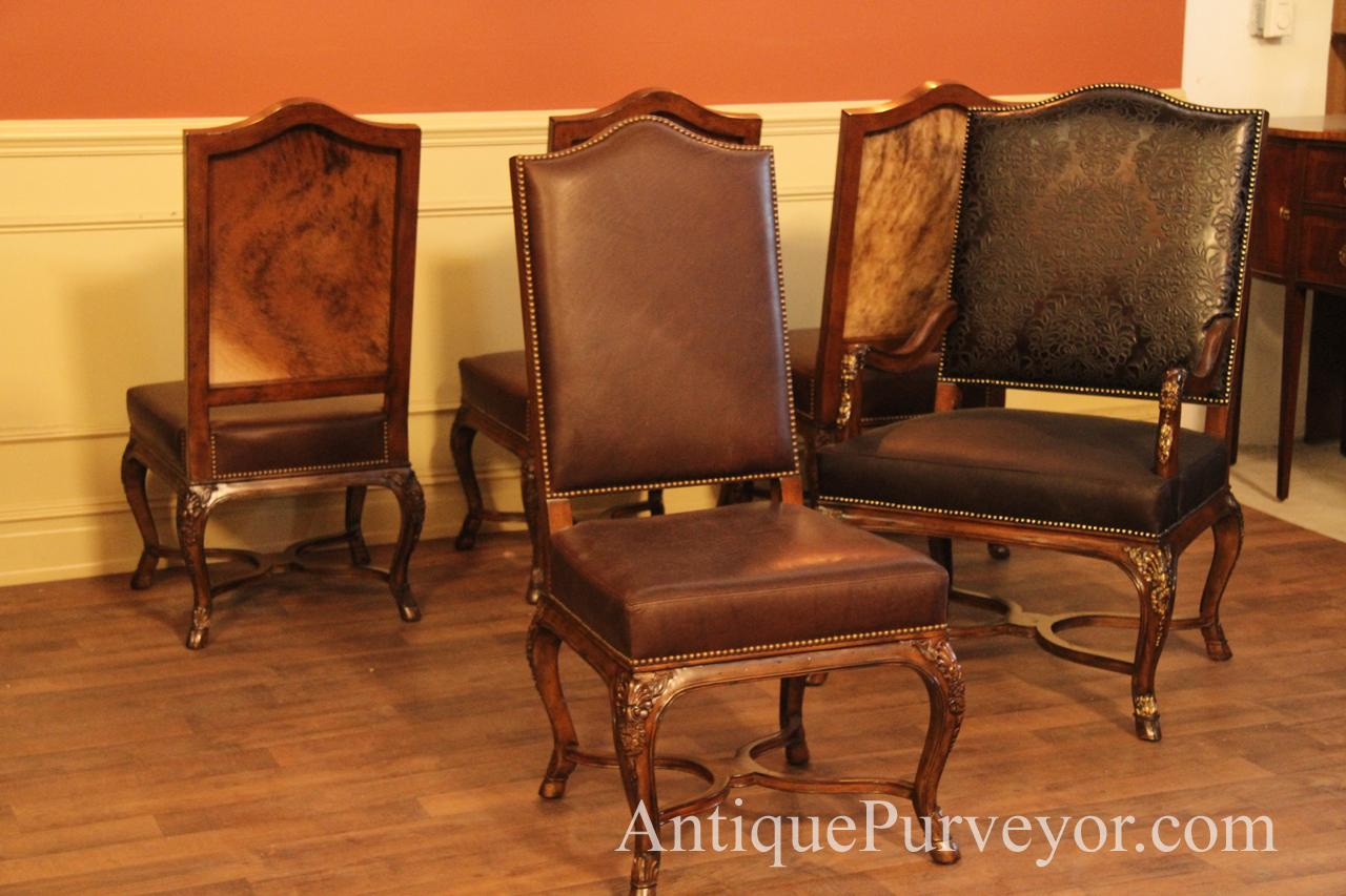 French Leather Upholstered Dining Chair. Soft Spring Seats And Medium Brown  Leather On Side Chairs