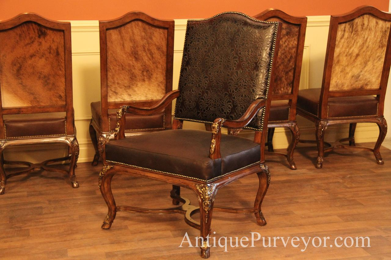 Brown Hair Hide Dining Room Arm Chair French Style Leather Upholstered Mahogany Chairs