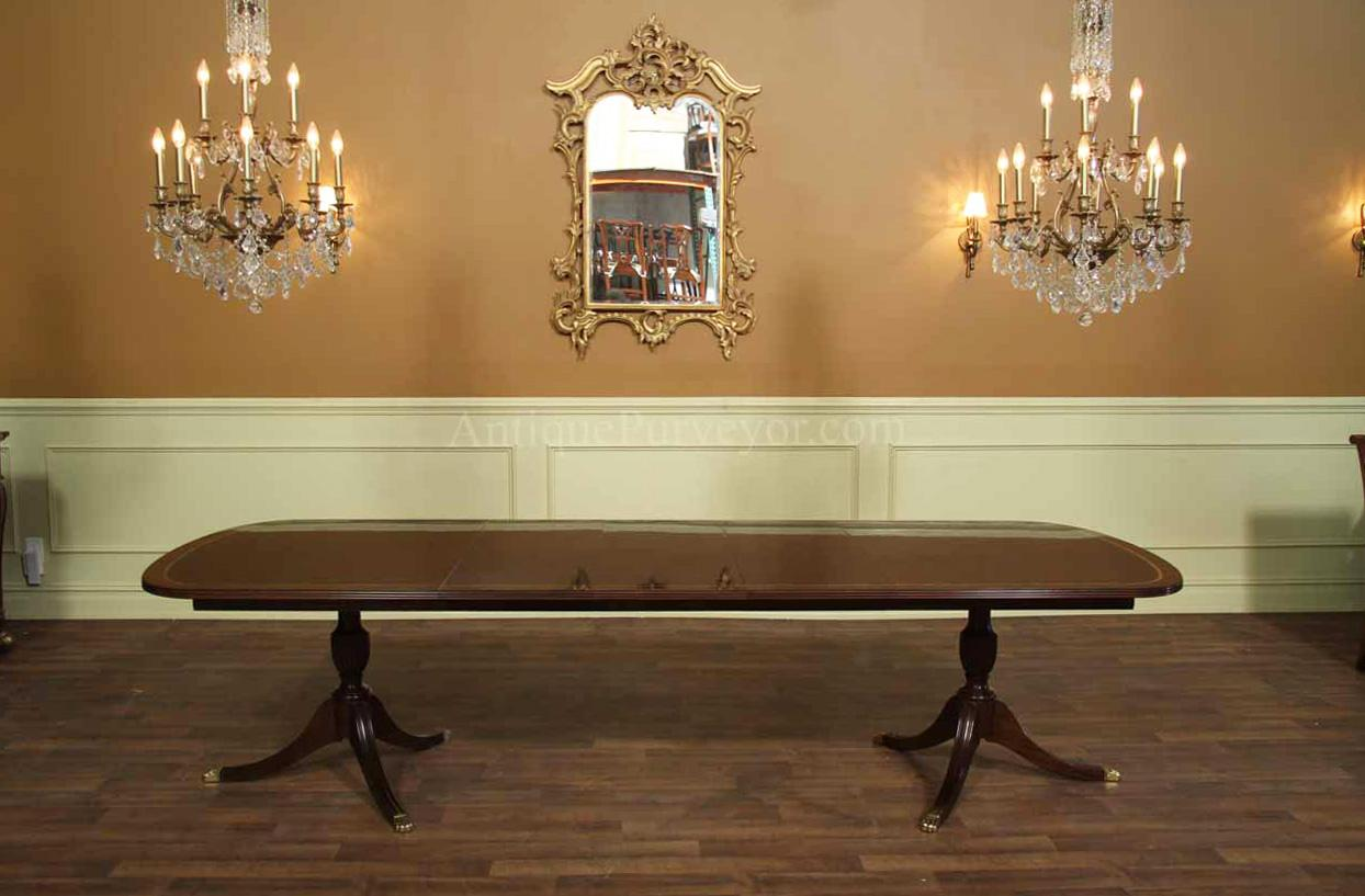 New Formal American Made Double Pedestal Dining Table With