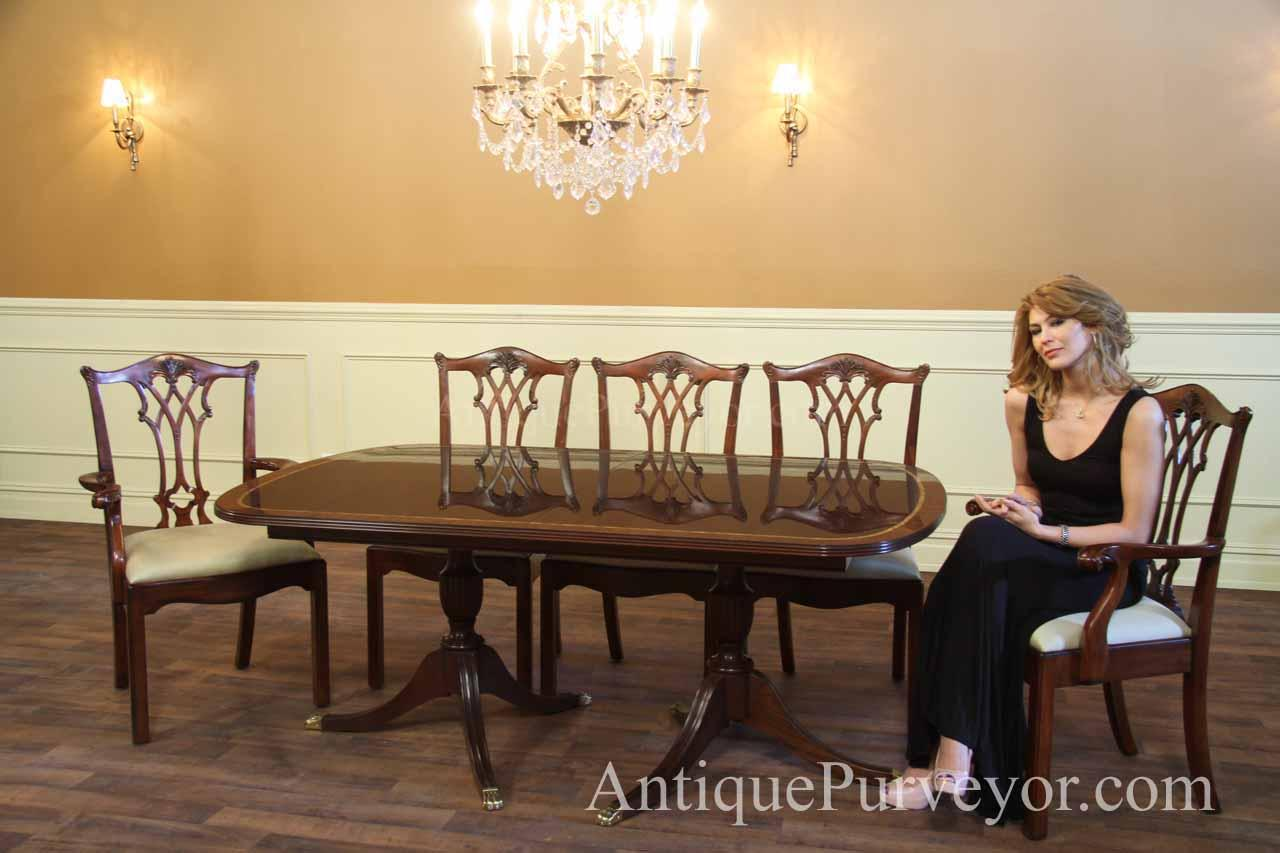 New Formal American Made Double Pedestal Dining Table with Inlay