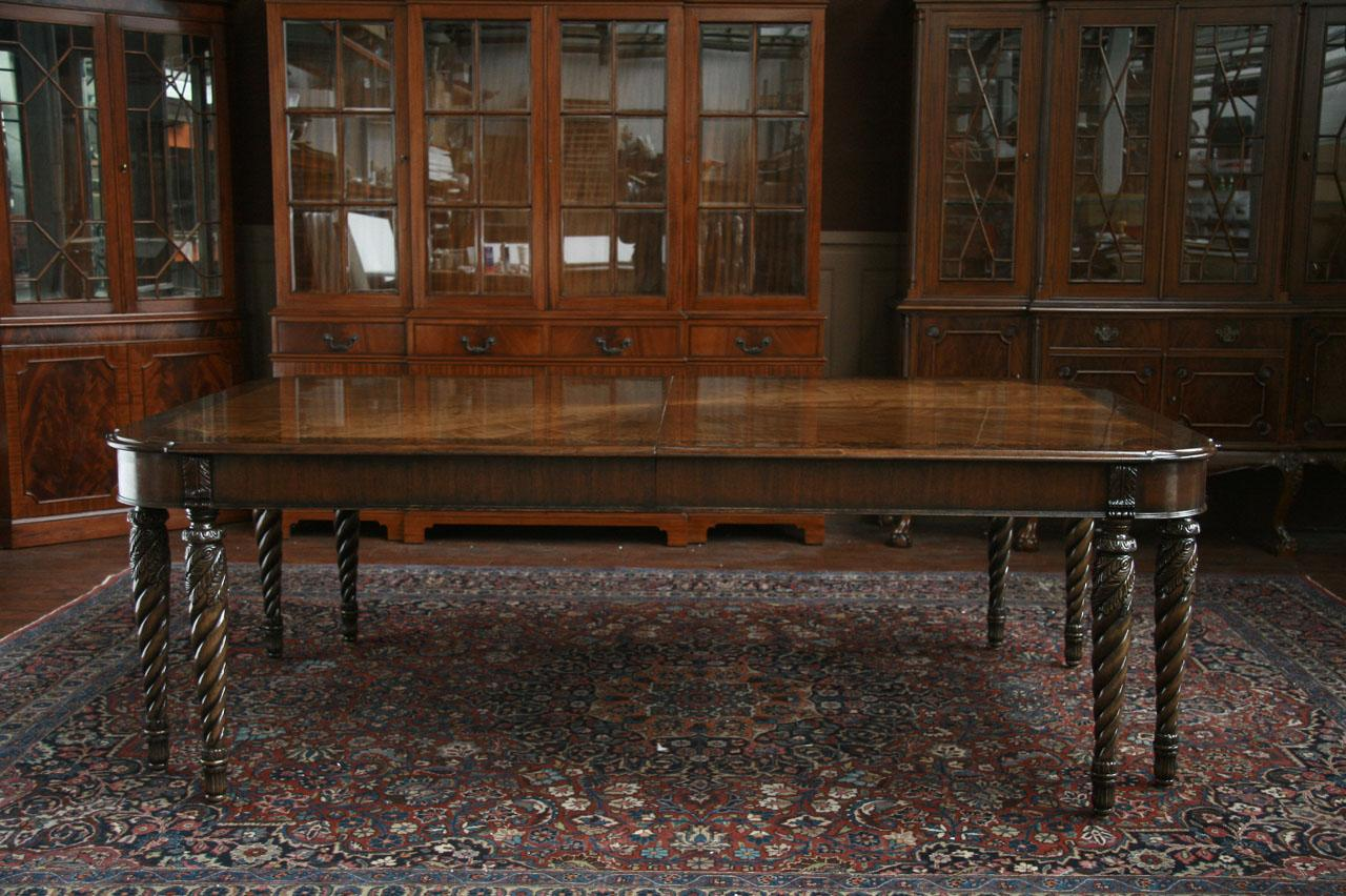 High End Dining Room Table Shown With No Leaves In Place American Made 8 Leg