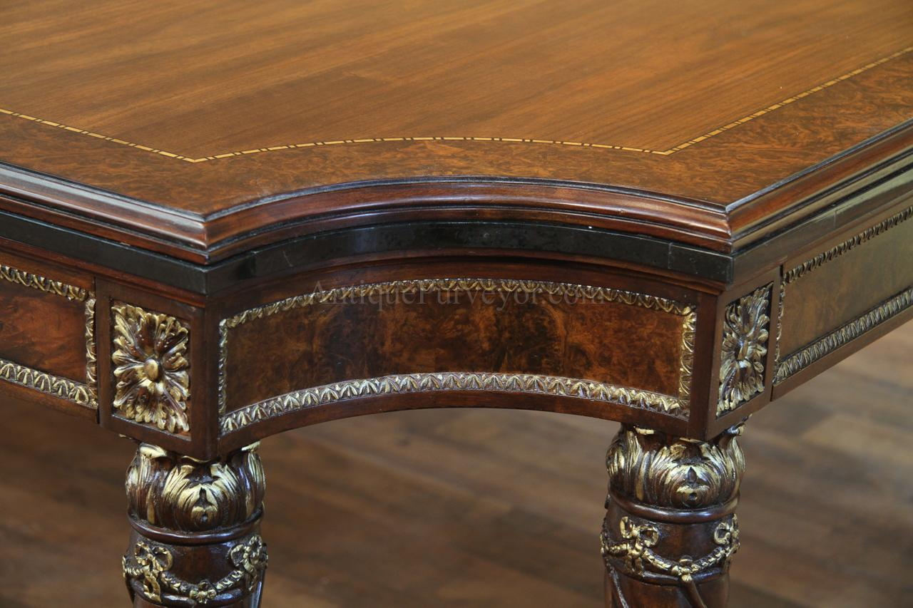 Burl Walnut A Gold Gilded Trim And Waxstone Edging