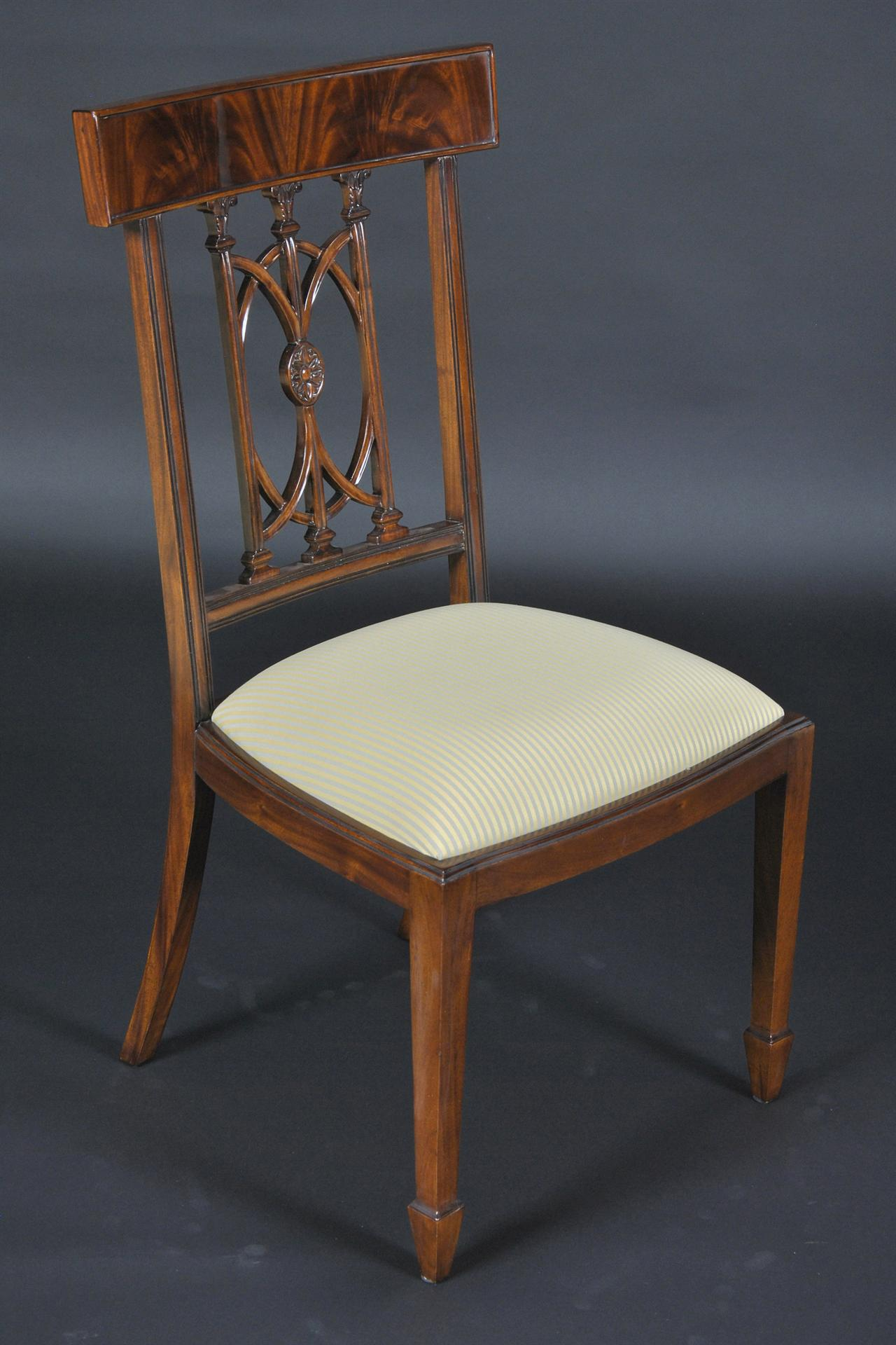 Hepplewhite Chairs with Swirl Mahogany Crest Rail