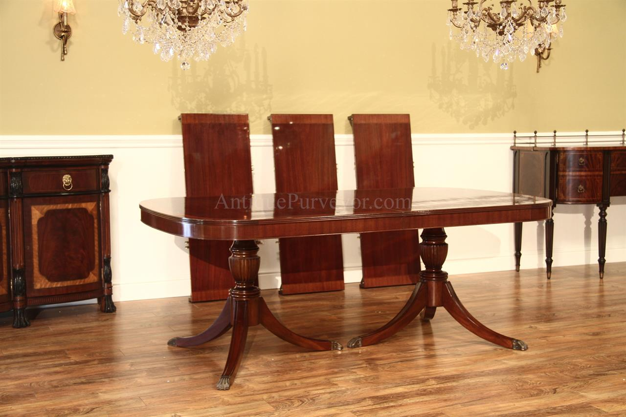 High End American Made Custom Double Pedestal Mahogany Dining Table