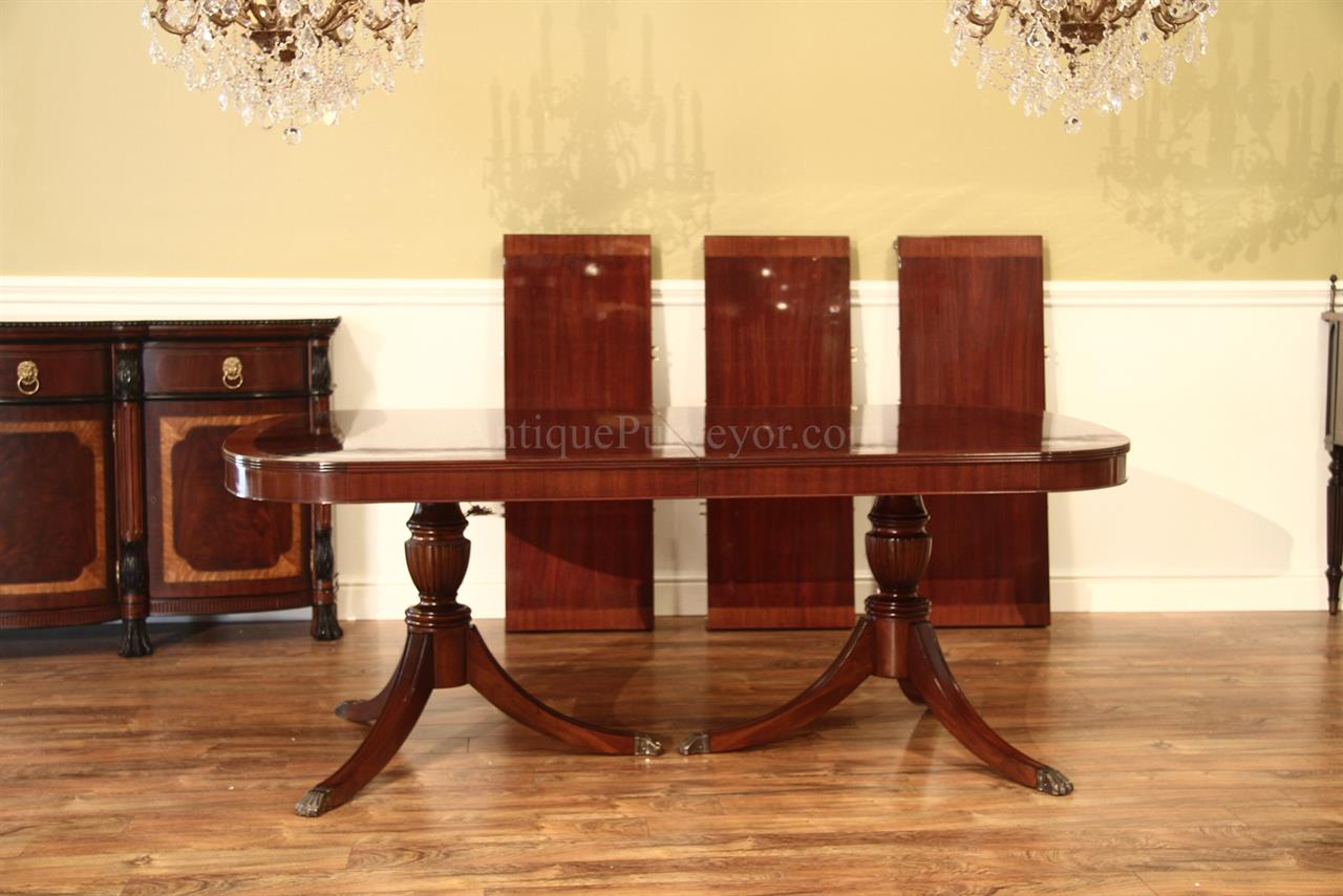 American Made Traditional Double Pedestal Mahogany Dining Table