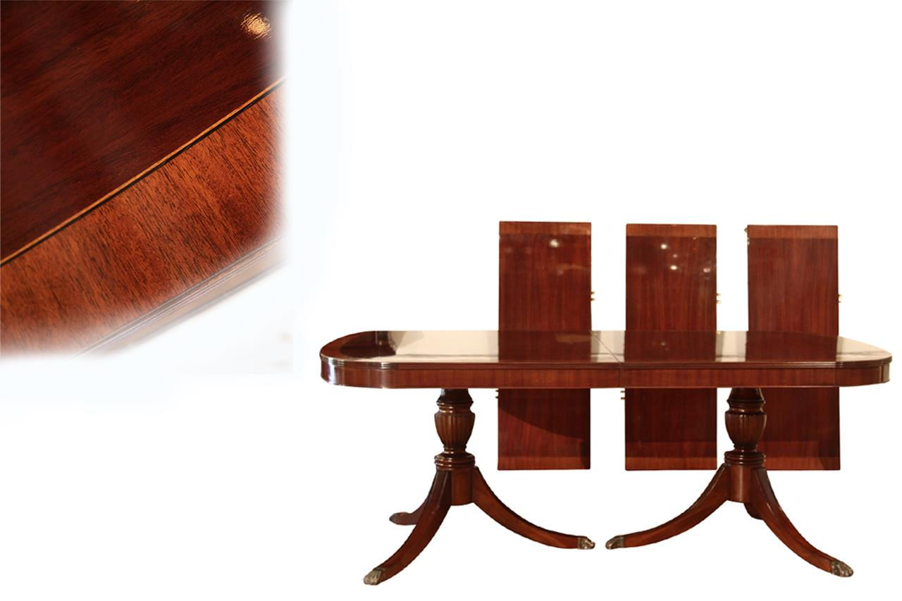 American made traditional double pedestal mahogany dining for Double pedestal dining table plans