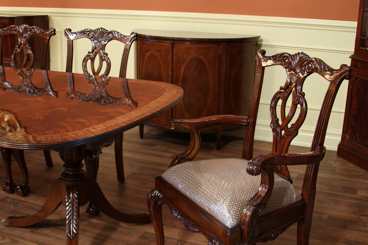 Dining Table Shown With A Larger Scale Solid Mahogany Chippendale Captains  Chair