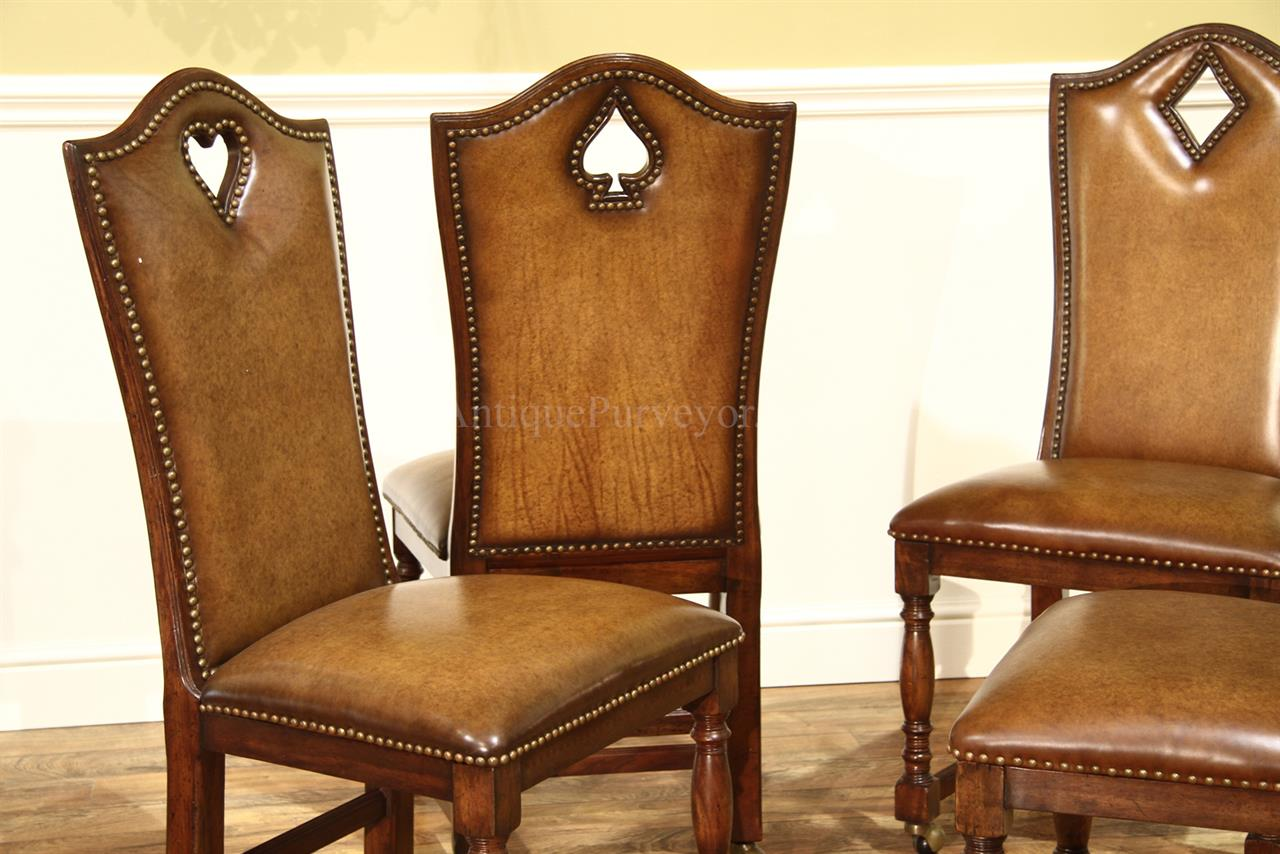 Leather Game Chairs With Brass Nails