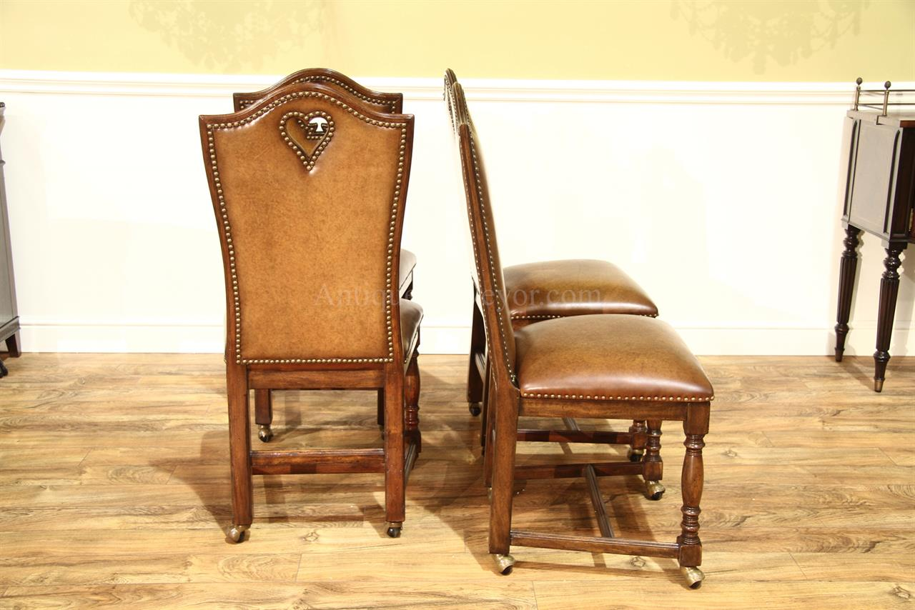 leather chairs with brass nails