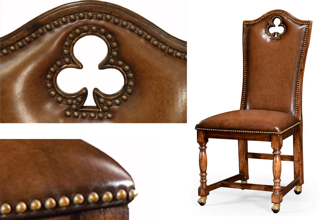 high end leather upholstered chairs with brass nail