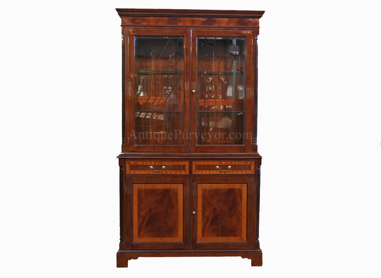 High end mahogany china cabinet two door china cabinet for Chinese kitchen cabinets nj