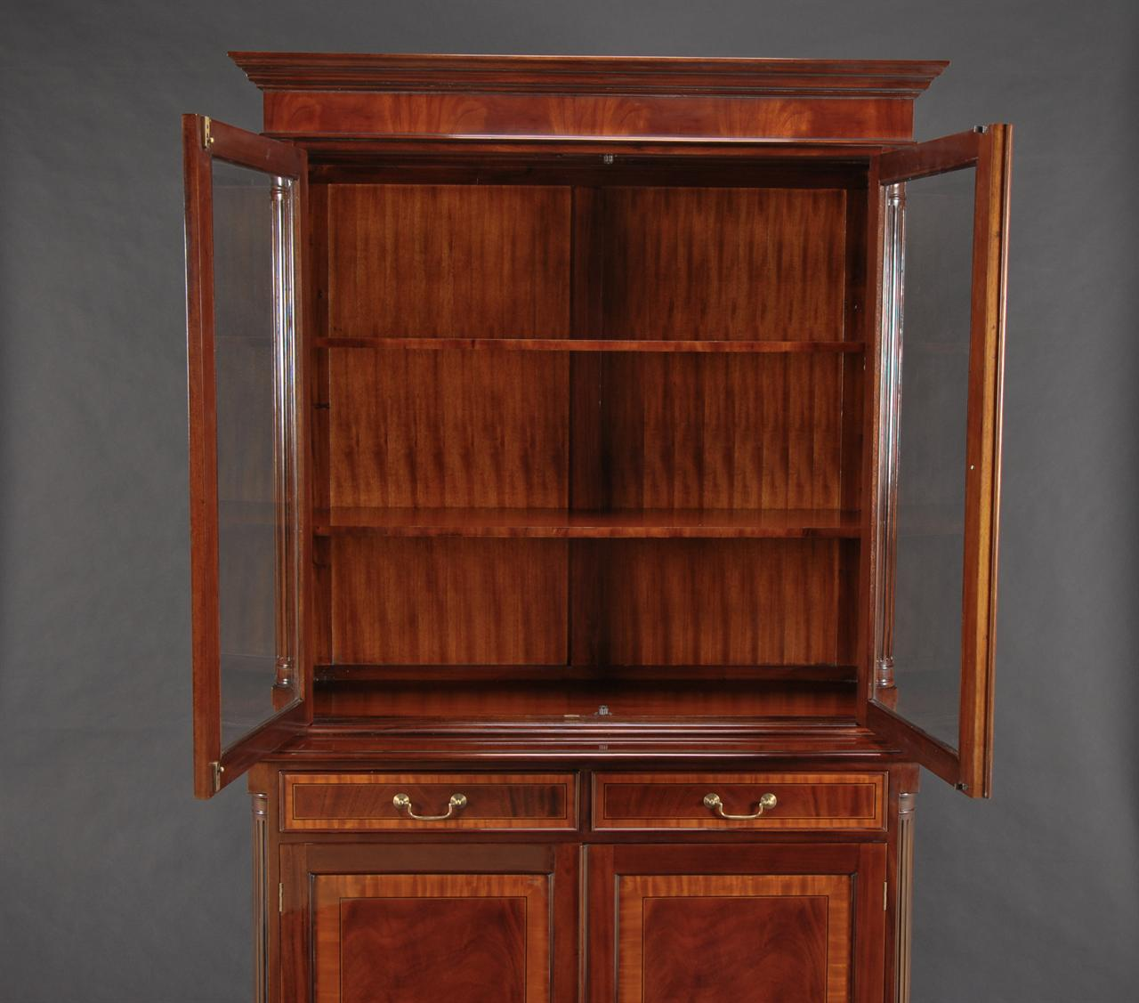 High end mahogany two door china cabinet ebay for High end doors