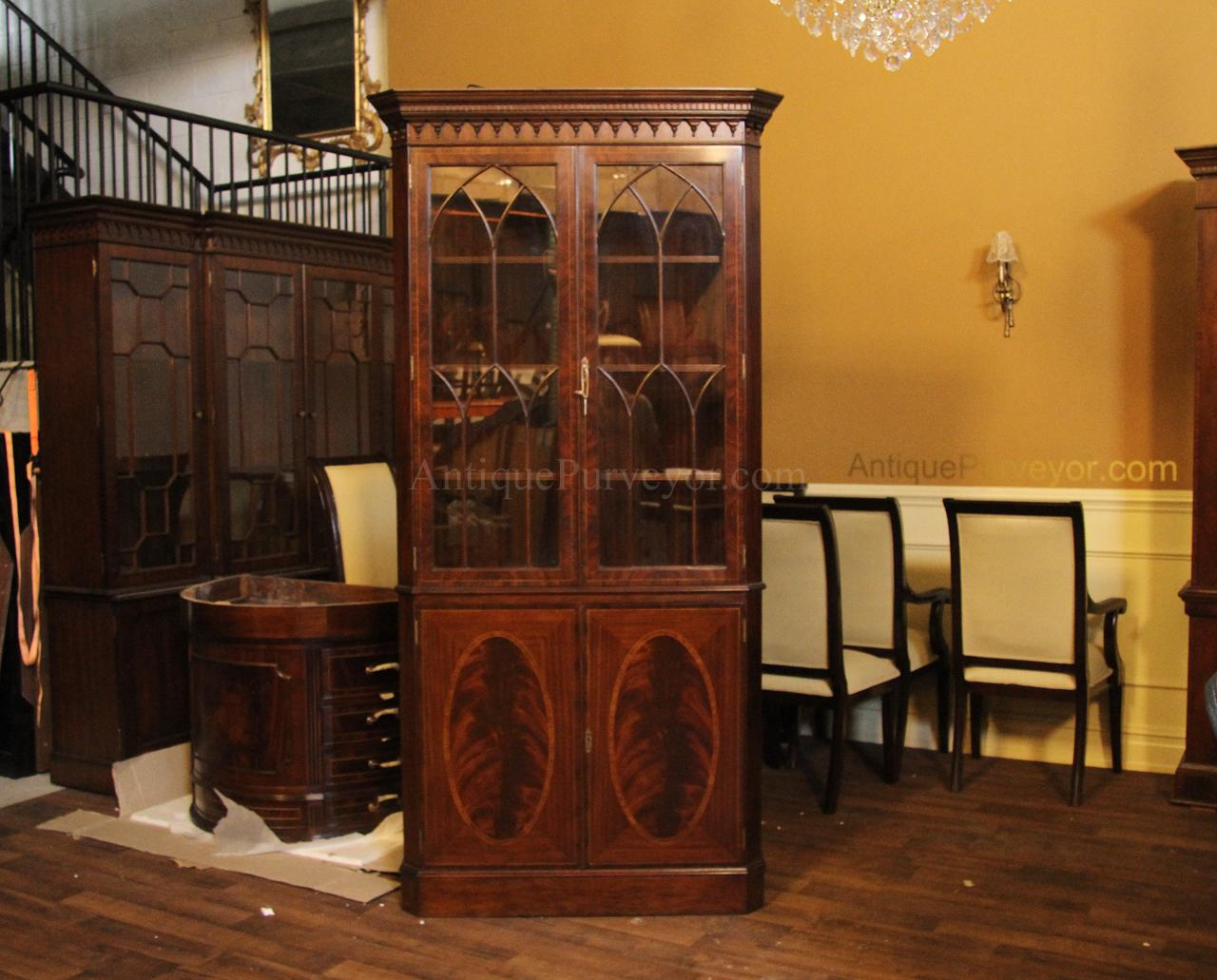 High End Flame Mahogany Corner Cabinet For The Traditional Dining Room