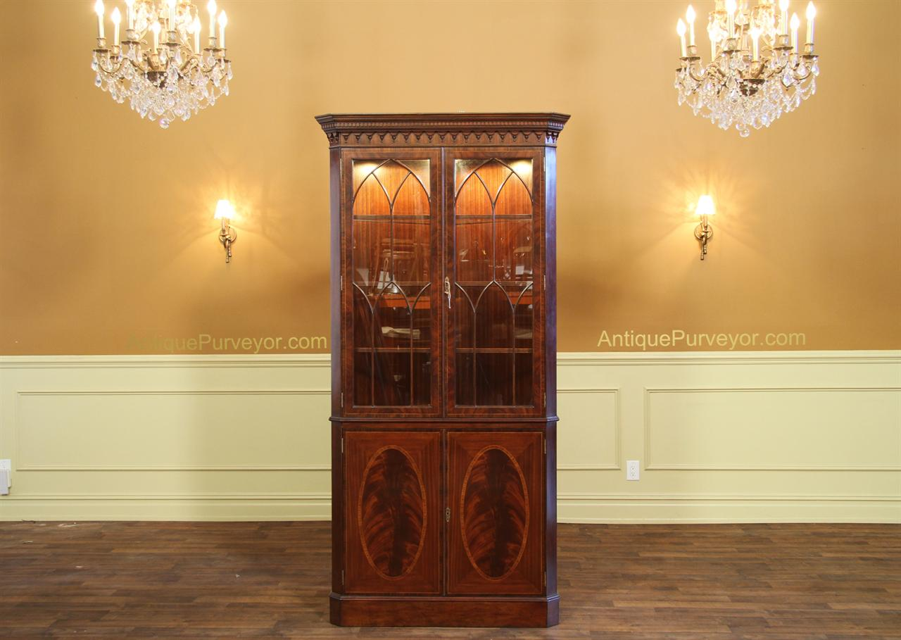High end antique reproduction corner china cabinet curio or hutch - Antique Reproduction Hepplewhite Corner China Cabinet