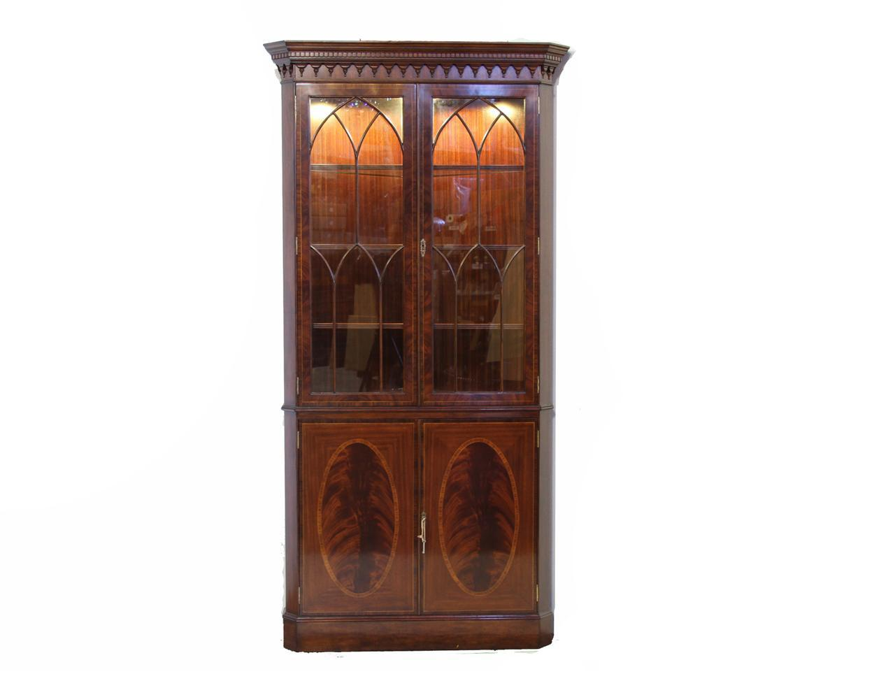 High End Mahogany Corner China Cabinet With Light Kit
