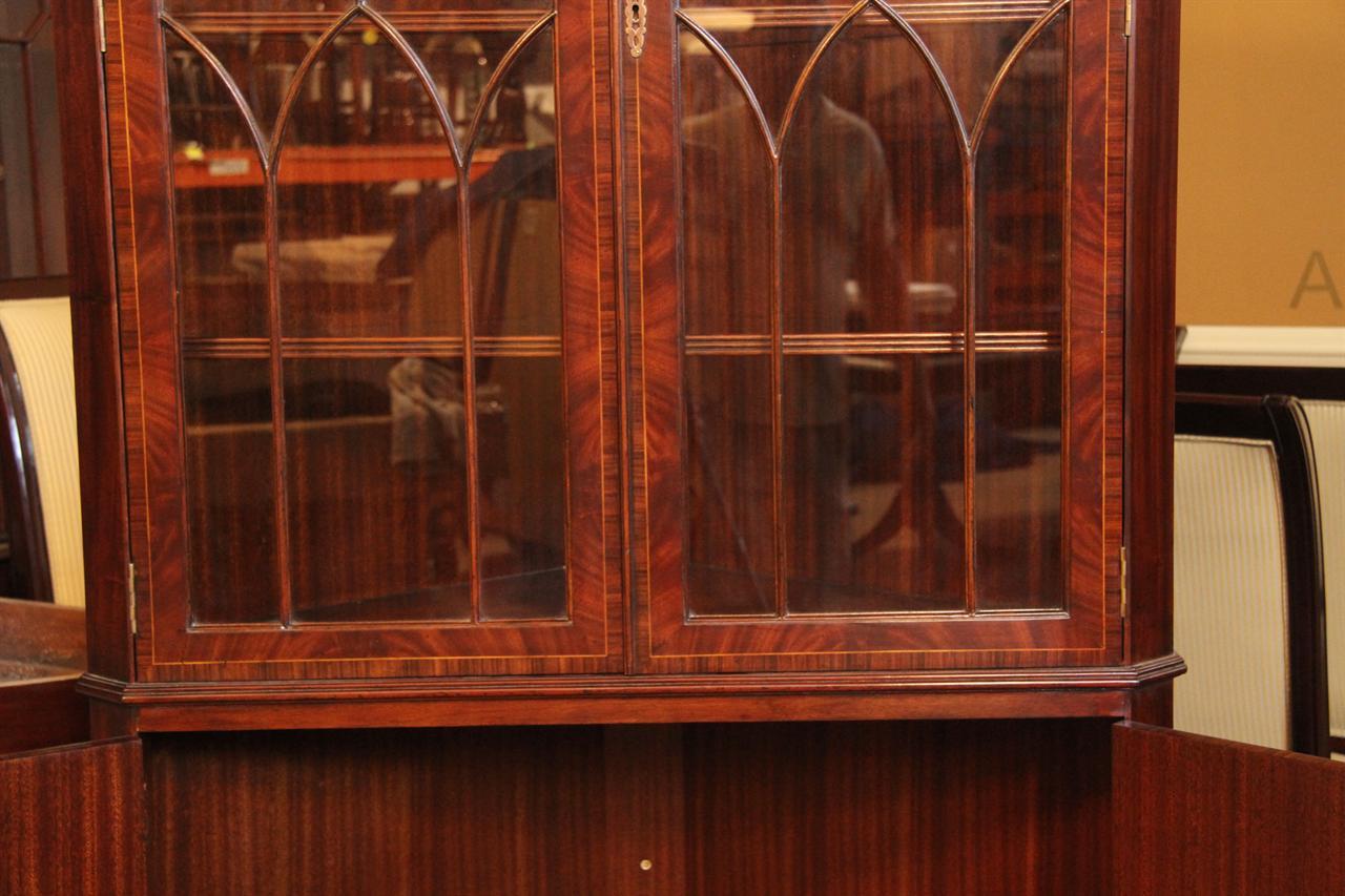 Antique Reproduction Hepplewhite Corner China Cabinet