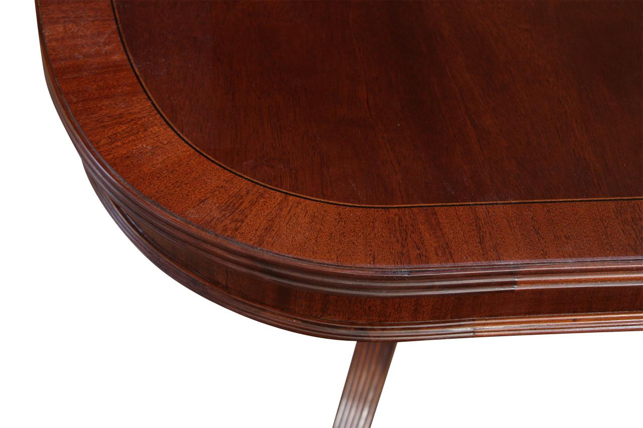 Formal Double Pedestal Mahogany Dining Table With 2 Leaves And American Finis