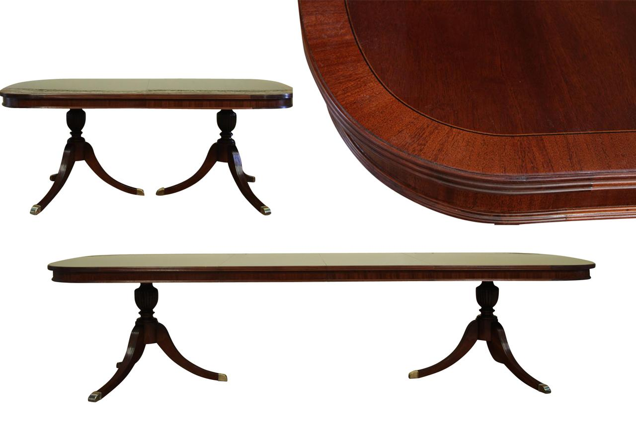 Formal double pedestal mahogany dining table with 2 leaves for Dining table with two leaves