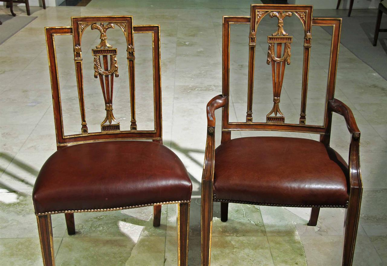 High End Neoclassical Leather Upholstered Mahogany Dining Chairs