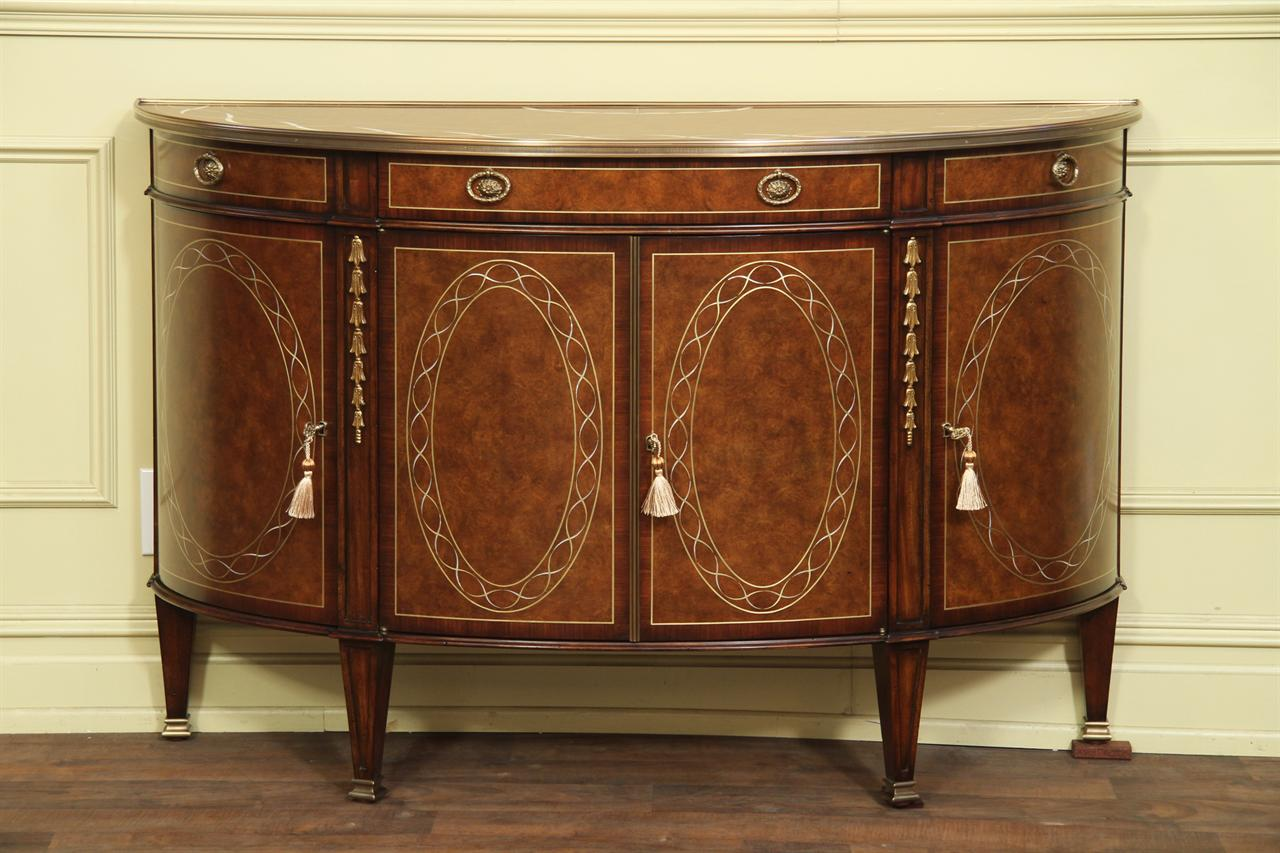 Inlaid walnut demilune