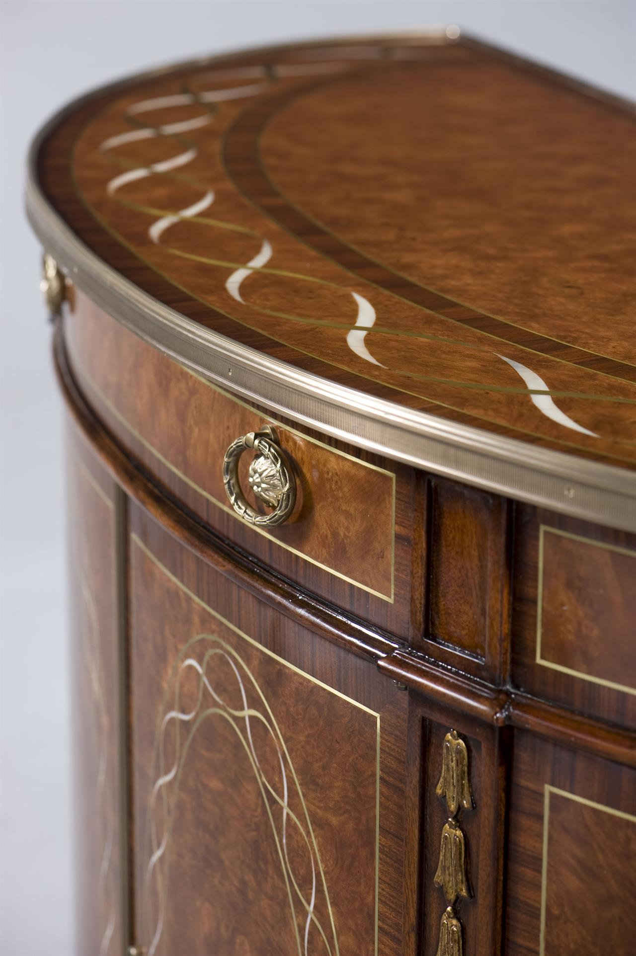 Walnut Brass And Mother Of Pearl Inlaid Demilune
