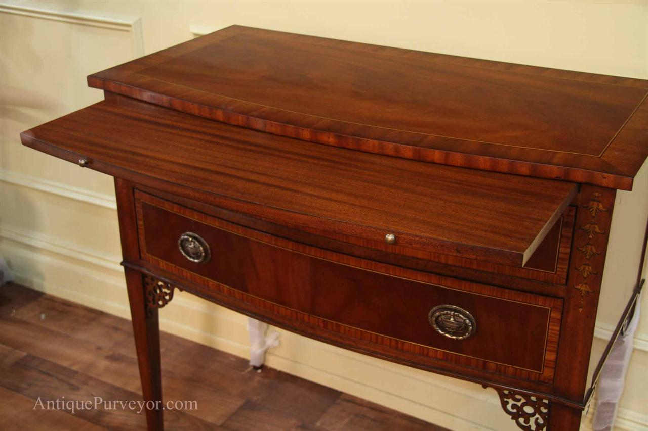 High End Cabinet. Fine Inlaid Buffet On Hepplewhite Style Pencil Legs.