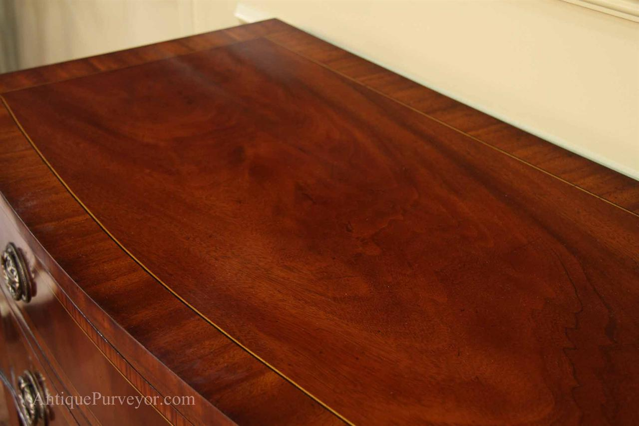 High End Cabinet Fine Inlaid Buffet On Hepplewhite Style Pencil Legs