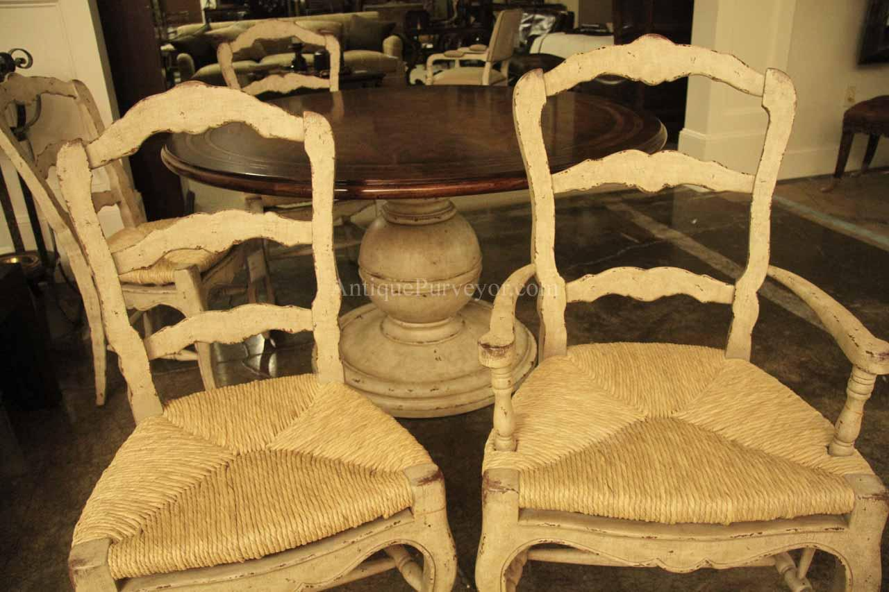 Well-known White Painted Ladder Back French Country Chairs Shabby Chic HL14