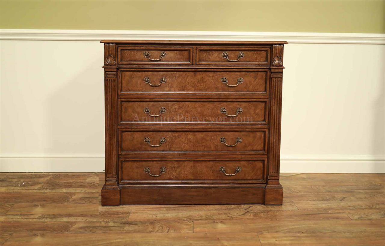 High-End Traditional Myrtle and Walnut Finished File Cabinet