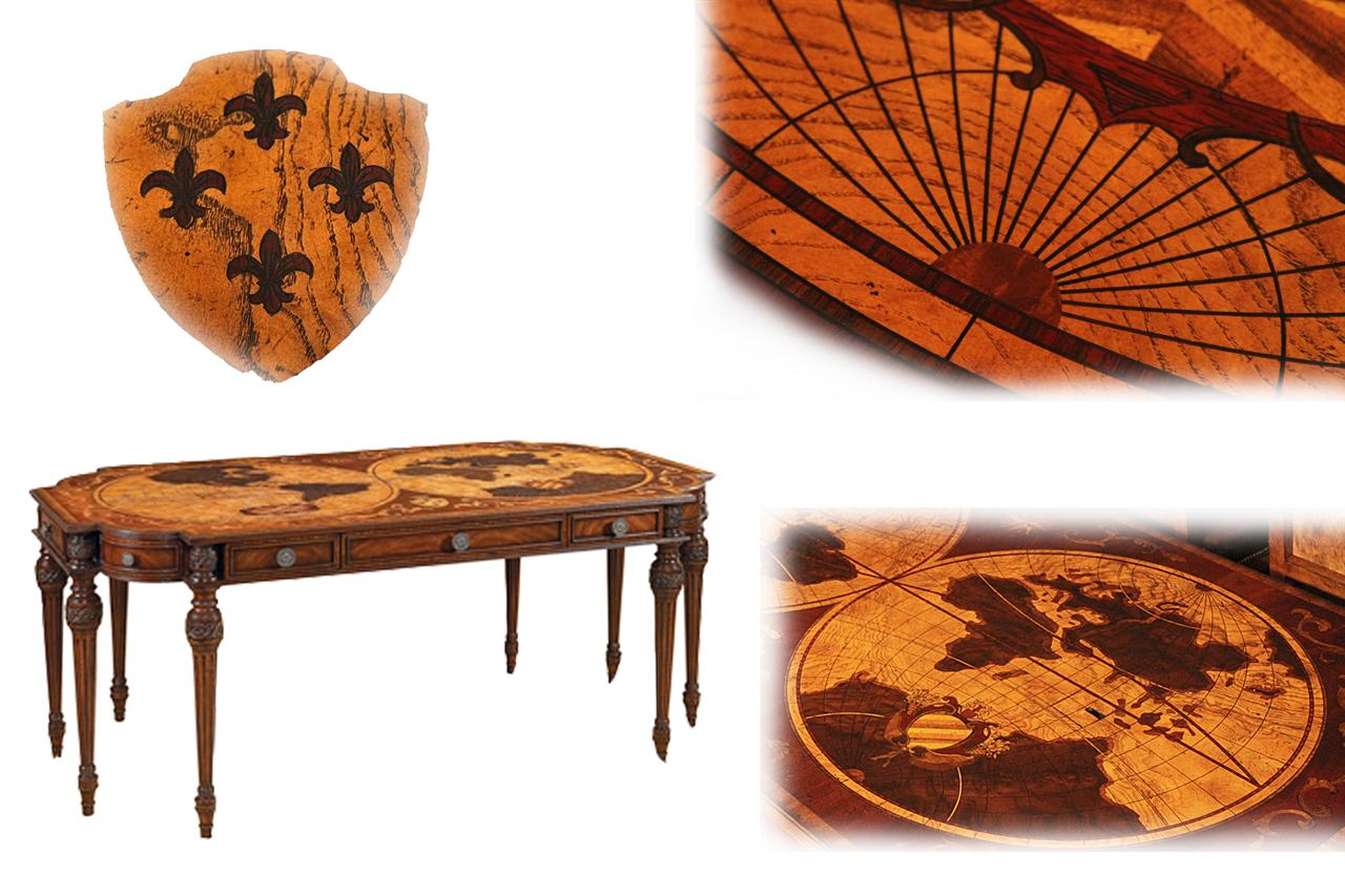 High end home office inlaid mahogany writing desk world map inlaid writing desk traditional nautical inlaid mahogany and walnut writing desk gumiabroncs Gallery