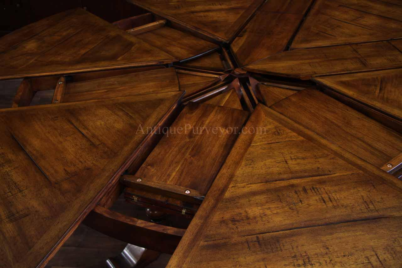 Jupe table extra large round solid walnut round dining table for Farm table seats 12