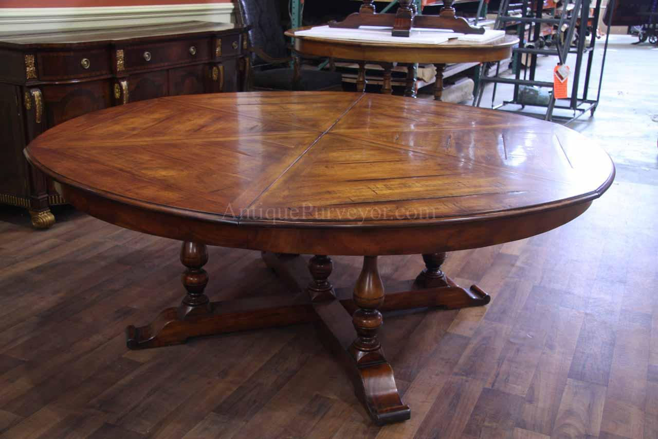 Rustic extra large solid walnut dining table opens to 100 for 10 seating dining table