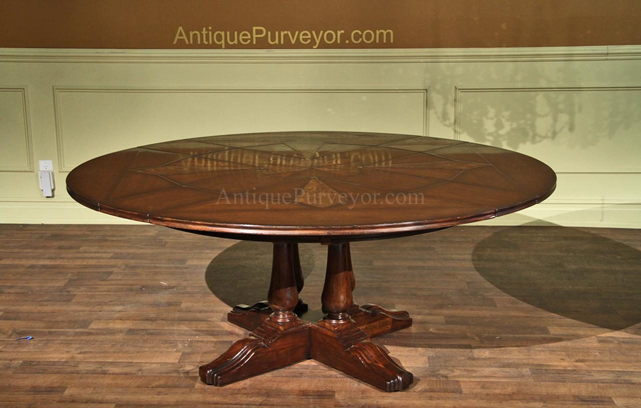 Country Style Round Dining Table With Leaves Shown At 74 Inches And Fully  Opened