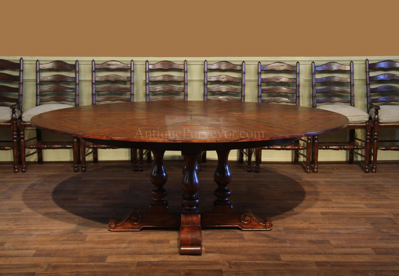 Rustic Round Dining Table For 8 62-78 jupe table for sale-round to round country dining table