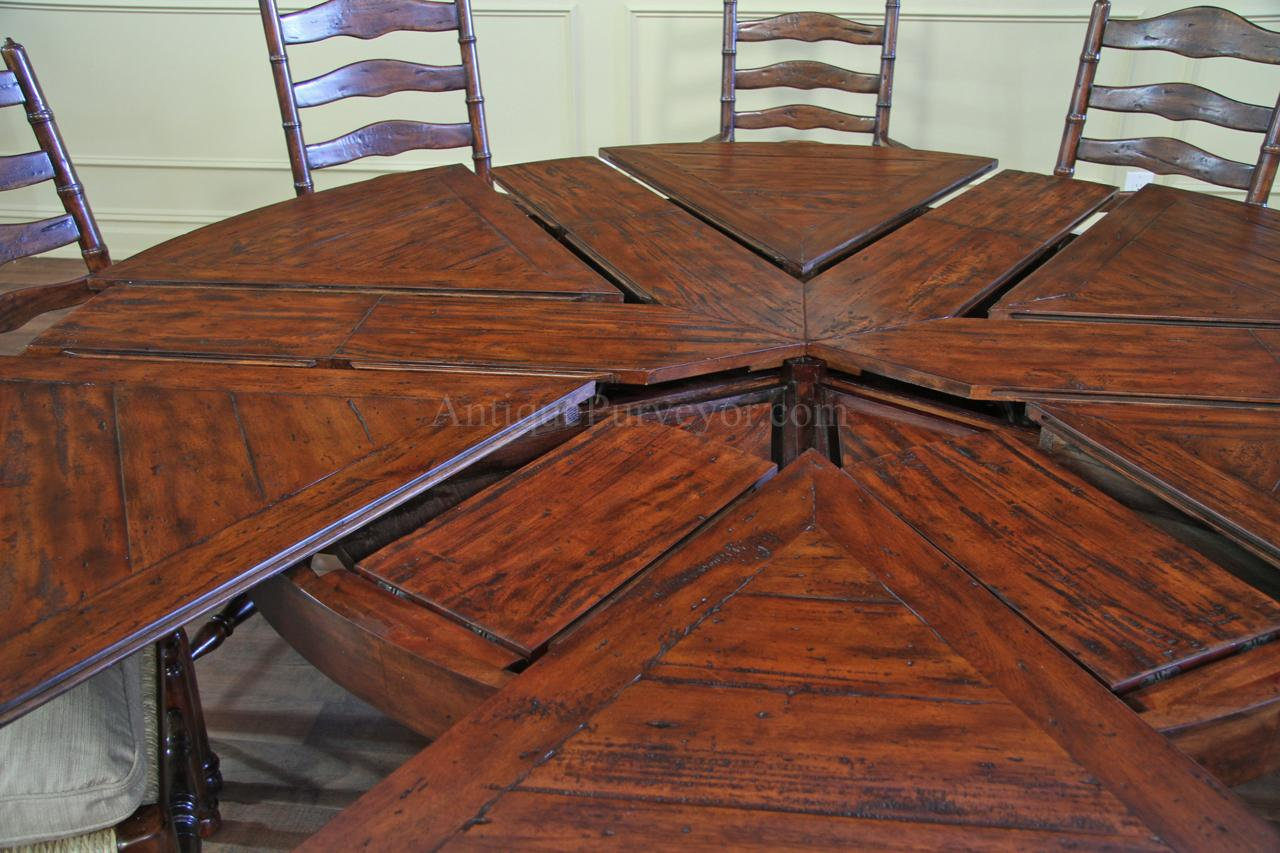 Rustic Round To Round Dining Table With Hidden Leaves