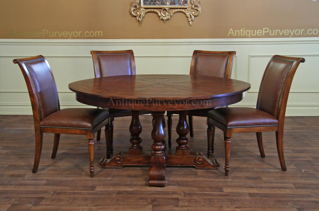 round dining tables for sale shown with a high end leather upholstered dining chair which is available as a separate purchase