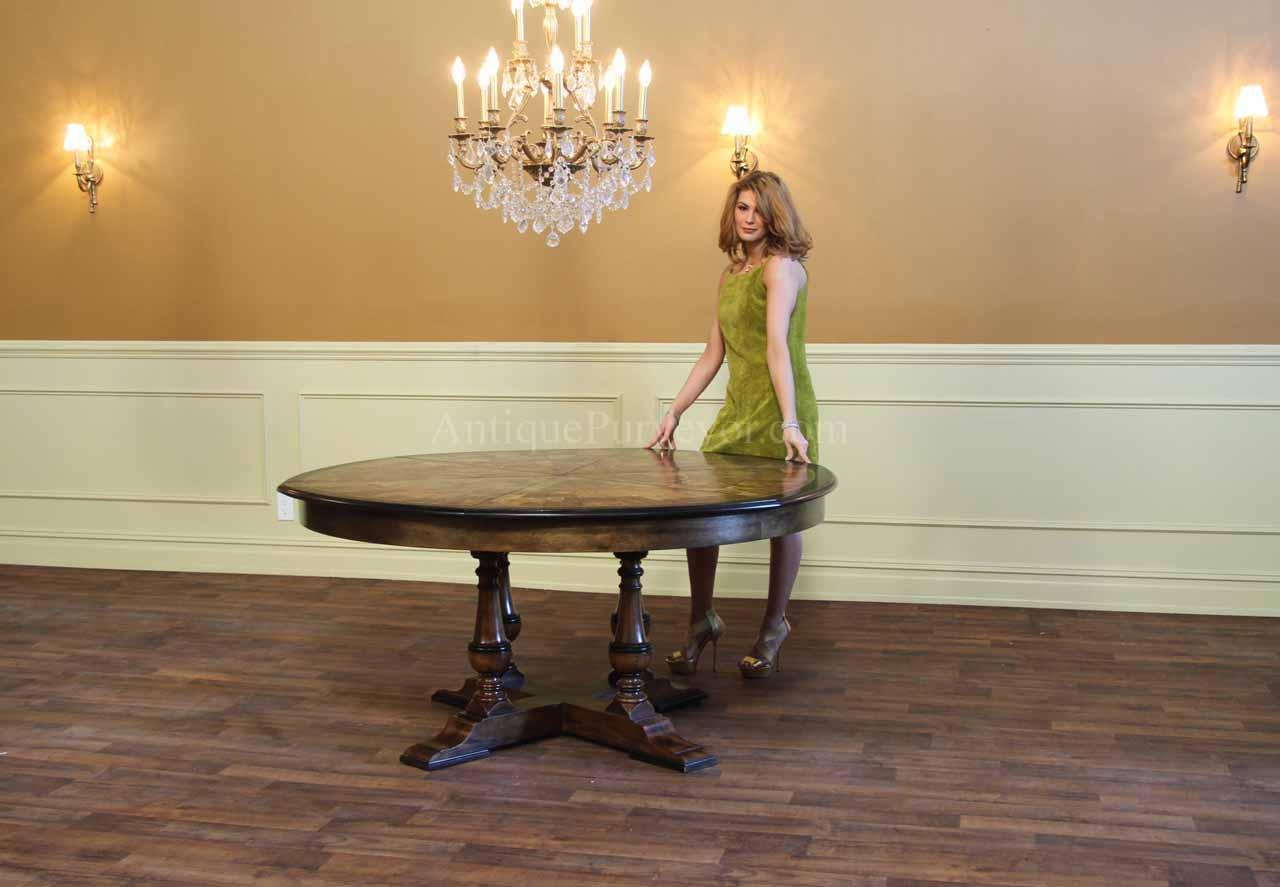 large round walnut dining room table with leaves seats 6