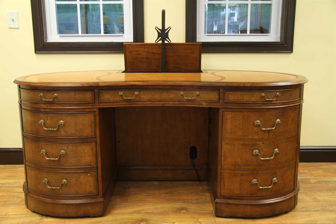 Walnut Leather Top Executive Kidney Desk Antiquepurveyor