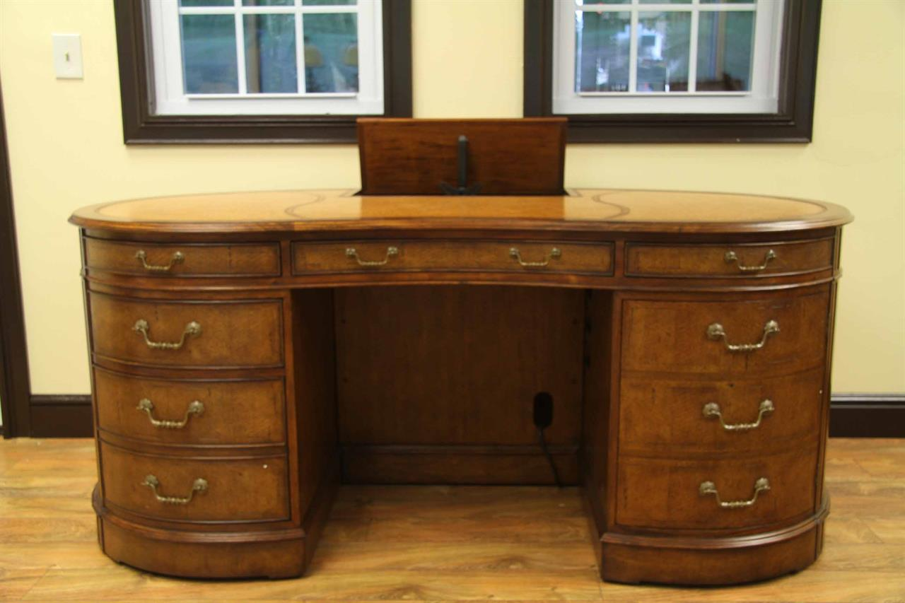 Kidney Desk With Leather Top And Walnut Veneer Hidden Monitor Lift