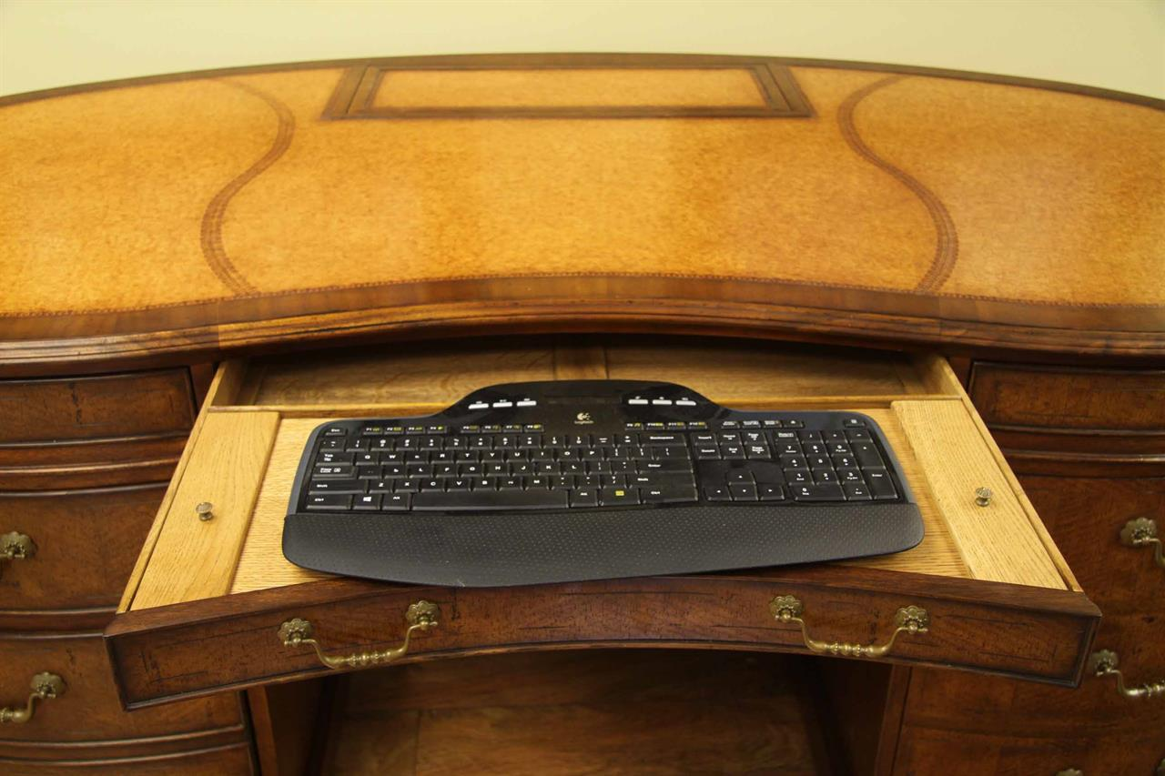 desk and chair walnut leather top kidney desk with monitor lift 14671