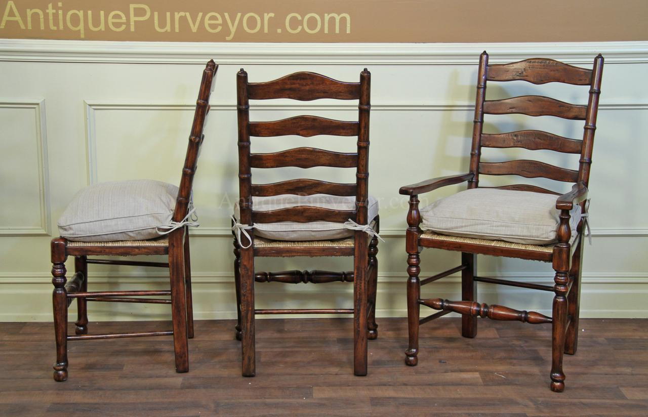 Rustic Ladder Back Dining Chairs with Factory Distressed Finish - Rustic Ladder Back Chairs With Rush Seats & Upholstered Cushions