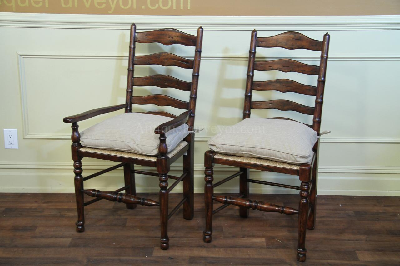 Rush Seats with Upholstered Seat Cushions and Pillows. Rustic Ladder Back  Dining Chairs ... - Rustic Ladder Back Chairs With Rush Seats & Upholstered Cushions