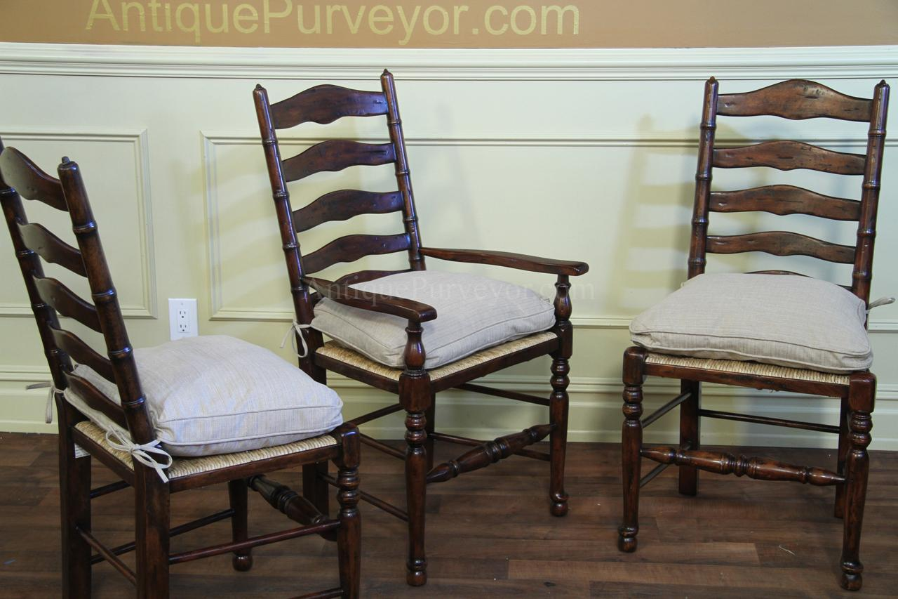 Rustic Ladder Back Chairs With Rush Seats Upholstered Cushions
