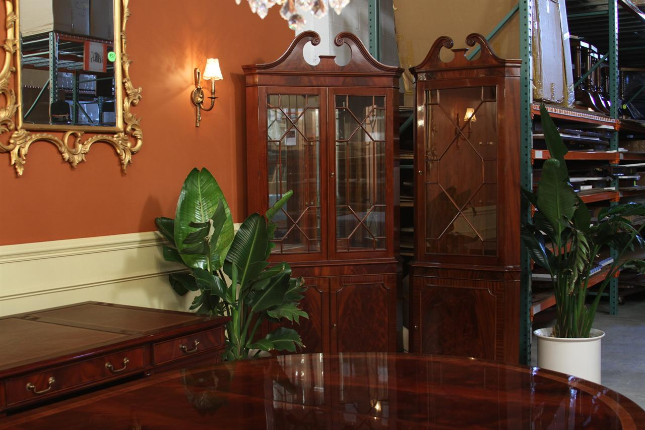 Mahogany Corner Cabinets Shown In Mahogany And Walnut Finishes