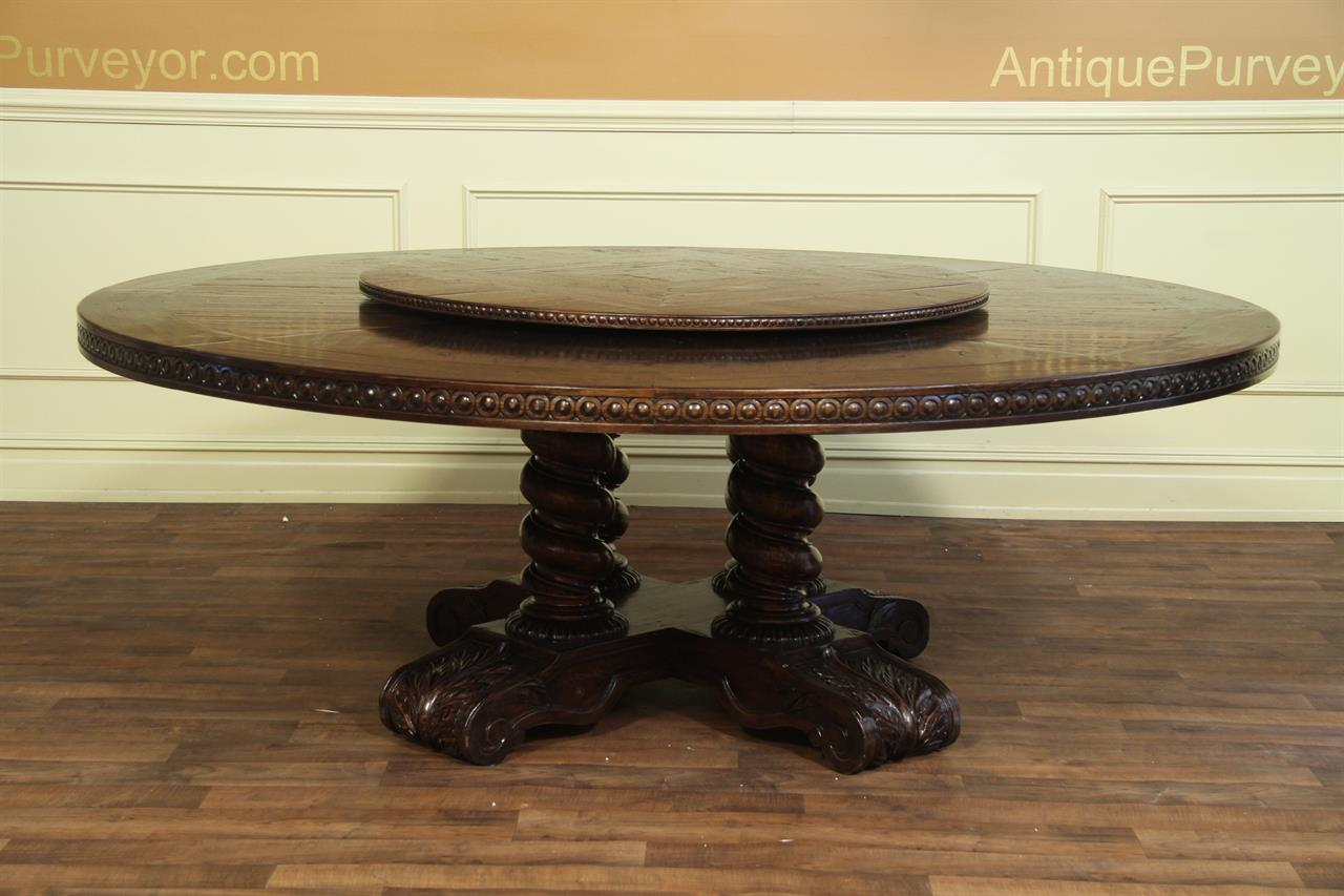 """46"""" Dark oak lazy susan for large round dining table"""