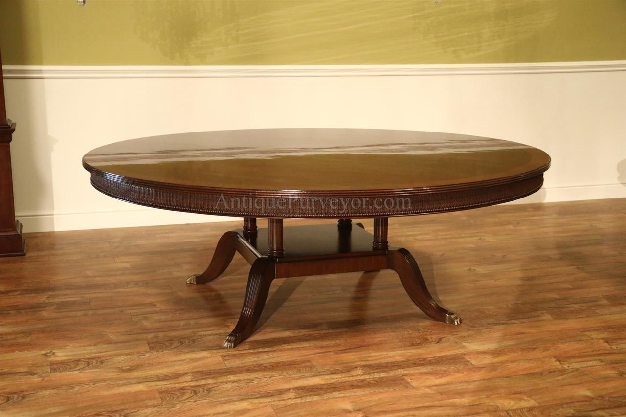 Large 84 inch round mahogany dining room table seats 10 for 10 seat round table