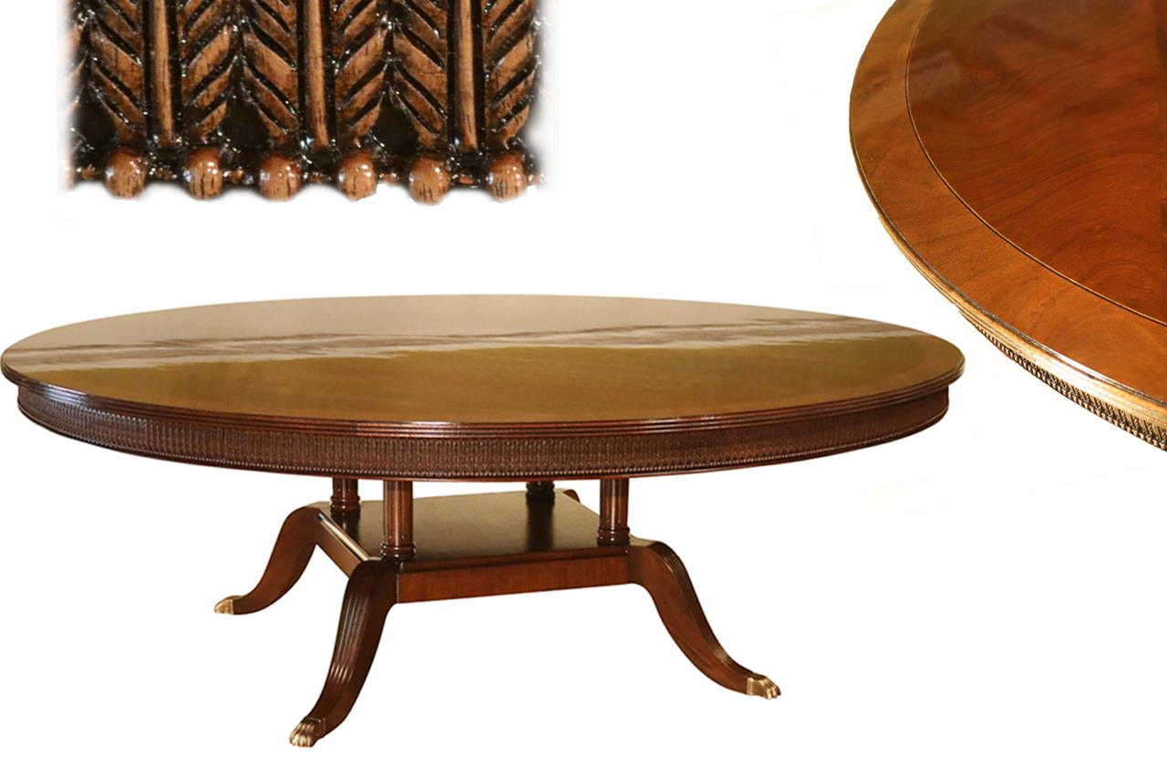 Large 84 Inch American Made Mahogany Dining Room Table Seats 10